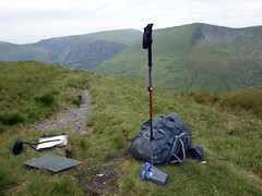"My backpacking kit on a hillside in the Arans • <a style=""font-size:0.8em;"" href=""http://www.flickr.com/photos/41849531@N04/19158299600/"" target=""_blank"">View on Flickr</a>"