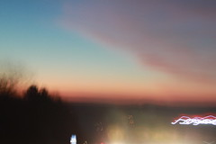 (chilllllie) Tags: blue trees light sunset sky orange blur night pretty eveningsun gradient ontheroad gradual