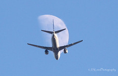 737 Moon (James Lees Photography) Tags: flairair boeing737 boeing 737 plane moon flight aircraft sky blue