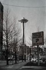 Needle (LaPille) Tags: blackandwhite seattle travel street architecture usa us spaceneedle
