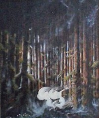DANCING FAIRIES (tomas491) Tags: oilpainting art fairies dance dancing pines mist moon forest tomasljunggren magic fantasy fairieforest moonlight