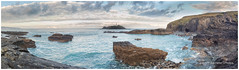 Godrevy Lighthouse. Panorama (deannno) Tags: greatbritain uk cornwall godrevylighthouse rocks lighthouse seaside sky sea seascapes seascape