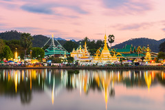 Sunset scence of Wat Jongklang - Wat Jongkham the most favourite place for tourist in Mae hong son near Chiang mai, Thailand (MongkolChuewong) Tags: ancient asia bangkok buatong buddha buddhism chiang chiangmai chiangrai chong chongkham chongklang church culture gold hong jong kham klang lanna laos mae maehongson mai market mountain myanmar north pagoda pai pang pangung pavilion rai reflec river son sunset temple thai thailand tong tourist travel ung wat water winter