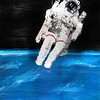 Spacewalk Acrylic Painting (TobyFree.com) Tags: acryl acrylic painting paintings spacewalk blue earth planet astronaut