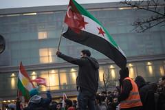 The flags of Neukölln (Iwo Jima remix). Syria solidarity rally, December 2016. (joelschalit) Tags: syriancivilwar syria war waronterror berlin germany arab asylumseekers refugees refugeecrisis pentaxk3 middleeast protest demonstration deutschland neukölln