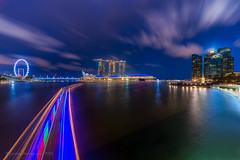 Speed City (chaoticbusher) Tags: longexposure light shadow copyright cloud motion color detail water june skyline night contrast spectacular landscape photography evening lowlight nikon singapore cityscape transformation mask body vibrant signature perspective smooth sigma scene architectural special formation flare layer cbd bluehour splash fullframe nikkor dslr fx advance highlight 1224mm merlion jubileebridge d800 centralbusinessdistrict singaporeriver dazzling asm lighttrail 2015 modernized ultrawideangle merlionpark fastforward silkywater boattrail singaporeflyer marinabaysands speedcity cloudlining dynmic artsciencemuseum mordernised