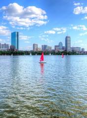Boston Sails (stasb) Tags: red urban boston skyline river boats bay back sailing charles sail prudential hdr stas burdan