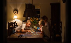 '1000 pcs' (M.R.Bach) Tags: family window night puzzle sunflowers