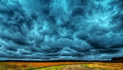 Countryside sky (PokemonaDeChroma) Tags: landscape panorama hdr stiching bracketting road field sky clouds dramatic canon eos 500d lesessartsleroi yvelines france countryside pemandangan paysage rue jalan pedesaan langit ciel awan nuage dramatis dramatique cold warm froid chaud hangat dingin fr rural street july 2015 summer artisticphotography cyan overcast