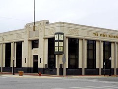 The First National Bank and Trust in Chickasha, Oklahoma (kevinellison62) Tags: artdeco firstnationalbankandtrust architecture building oldbuilding chickasha oklahoma clocks clock time bank