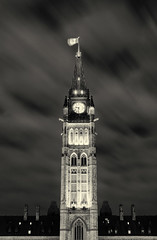 The Peace Tower, Parliament, Ottawa (Maxim B.) Tags: government canadian ottawa flag winter tower parliament peacetower architecture canada ontario evening capital night memorytrigger noir bw black mono monochrome wow trip blackandwhite noiretblanc