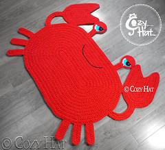Red crab rug Handmade by Cozy Hat (Anastasia wiley) Tags: crochet red crab rug mat blue orange decor interior knit handmade kids cozyhat cozy hat