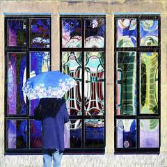 Reflecting on Reflections (Lemon~art) Tags: windows reflections woman rain sunlight umbrella texture manipulation
