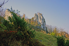 The rock landscape (Hejma (+/- 5200 faves and 1,6 milion views)) Tags: historical watchtower soldering jura tree scrub grassland pastures rock fall fence autumn colors chiaroscuro
