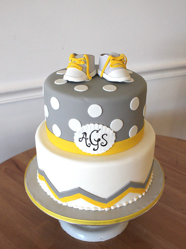Chevron Polka Dots and Booties Cake