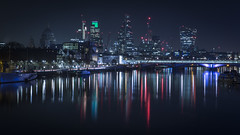 City Lights (scott.hammond34) Tags: london cityscape cityoflondon gerkin skyscraper skyline riverthames river water reflection reflected bridge boat nightphotography longexposure winter embankment waterloobridge uk stpaulscathedral outdoor canon 6d canonef2470f28mk2