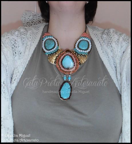 """Maxi-colar """"Turquoise&Desert"""" (colecção Primavera-Verão 2015)"""