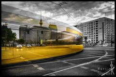 Yellow tram (Krueger_Martin) Tags: white black berlin yellow architecture traffic tram gelb alexanderplatz architektur fernsehturm verkehr schwarz hdr parkinn langzeitbelichtung colorkey weis lightstream photomatix graufilter nd10 strasenbahn mollstrase
