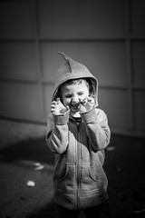 Grrrr (duncan_mclean) Tags: portrait blackandwhite bw children hoodie kid funny child dinosaur son portraiture bandw growl roar roo ruairidh
