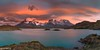 Dawn at the Los Cuernos Panorama - Torres del Paine (Captures.ch) Tags: 2016 black blue brown captures chile clouds december gray ice lagopehoe lake landscape loscuernos mountains nature orange panorama perfect red sky snow sunrise torresdelpaine travel unreal water wave white yellow
