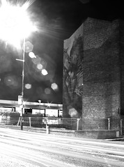 night lights and love on Ancoats monochrome (PDKImages) Tags: lights longexposure manchesterstreetart manchesterart manchester cityscape artinthecity trails wall lightup bowie urban mural ghosts shadows ancoats ladies love alley alleyway streets