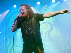 """""""There I saw a UFO"""" - VoiVod live in Budapest (un2112) Tags: voivod metal rock music musician musicians people humans canadian heavymetal progressiverock gig concert live budapest barbanegra november gx80 singer rocksinger"""