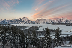 Awaiting the Sun (kevin-palmer) Tags: grandtetonnationalpark wyoming winter december snow snowy early morning sunrise grandteton teton mountains snakeriver water flowing snakeriveroverlook nikond750 tamron2470mmf28 nationalpark