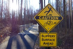 CAUTION (The Remy & Nate Collection) Tags: sign path slippery caution cautionsign trail woods forest trees tree
