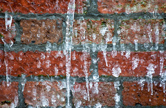 Icicles Red Brick Wall (Orbmiser) Tags: 55200vr d90 frozen ice nikon oregon portland winter icicles brick wall