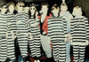 Stripes (Midnight Believer) Tags: stripes prisoners costumes handcuffs shackles halloween party retro 1980s costumed ladies