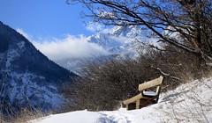banc (bulbocode909) Tags: valais suisse fully branson follatères arbres nature bancs montagnes hiver neige nuages bleu