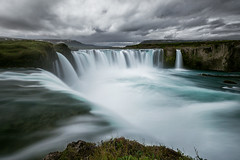 mighty Godafoss (Franziska Liehl) Tags: sky landscape water nature river blue clouds cloudy beautiful waterfall grey moody longexposure stream flow flowing eerie powerful turquoise iceland wideangle majestic mighty sombre looming godafoss