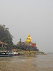 Mekong River, Chiang Rai (leonyaakov) Tags: mekong river triangle border laos myanmar thailand buddha statue gold monument