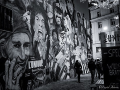 Wall of Legends (MaybeSomeday.CA) Tags: art wall mural music classic streets blackwhite faces legend painting basel switzerland pinkfloyd beatles ledzepplin nirvana jackson bowie