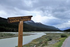 Endless Chain (Patricia Henschen) Tags: icefieldsparkway jasper alberta canada parks parcs nationalpark mountains clouds sign tangleridge river athabasca roadside glaciers mountain glacier northern rockies rocky endlesschain