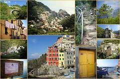 Riomaggiore (France-♥) Tags: riomaggiore cinqueterre 5terre italie italy collage travel liguria trail door village europe church life