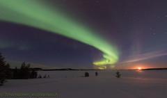 Moon and Northern Lights (Hotel Korpikartano) Tags: auroraborealis northernlights menesjarvi korpikartanofi winter arcticantarctic revontulet inarilapland