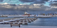 Winter Weather on its Way (Note-ables by Lynn) Tags: greycounty thornbury marina georgianbay water weather snowsqualls clouds