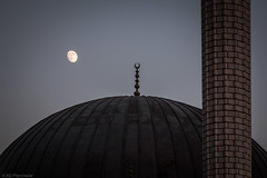 Touched (Anthony P26) Tags: category kas moon nightscenes places street travel turkey placeofworship mosque minaret dome architecture architecturephotography travelphotography canon70d canon1585mm canon sky nightsky evening craters stonework curves outdoor turkiye