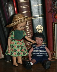 Don't be sad, the creek will be back to normal tomorrow (Crazyquilter) Tags: vintage doll sara hitty nancyannstorybookdoll nasb traveldoll hittyannaclayhead hittyannathroughtheages