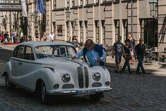 Old love not rust (Alexander Pugatschewski) Tags: street old city house man car germany person hotel dresden saxony hilton cobblestone bmw care washing passer gaper