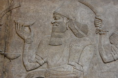 Court scene, Assyrian, from Nimrud, about 865 - 860 BCE (5) (Prof. Mortel) Tags: london britishmuseum mesopotamia assyria nimrud