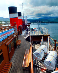 Scotland West Highlands the paddle steamer Waverley docked at the island of Arran 5 July 2015 by Anne MacKay (Anne MacKay images of interest & wonder) Tags: sea mountains west by island anne scotland highlands ship 5 picture paddle july mackay docked steamer arran waverley 2015