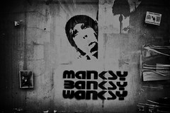 manky banksy wanksy (Daz Smith) Tags: city portrait people urban bw streets art texture wall canon bristol graffiti blackwhite stencil sticker mural paint candid citylife thecity streetphotography canon6d dazsmith