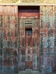 Egyptian false door (sixthland) Tags: antiquity britishmuseum cameraphone egyptian hieroglyphics iphone7 red