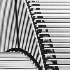 all about lines (morbs06) Tags: building ramp düsseldorf bw blackandwhite curves light shadow streets cities urban repetition ballustrade lines stripes metal