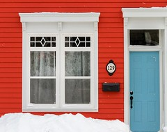 Red, White & Blue (Karen_Chappell) Tags: red white blue door window snow paint painted wood wooden house home jellybeanrow downtown city urban stjohns newfoundland nfld colourful colours clapboard mailbox winter january canada