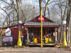 The Past Still Present (FagerstromFotos) Tags: yesterville generalstore gasstation cocacola pepsicola shelloilcompany red yellow rural sign signs advertisement ads oldstuff junk southcarolina upstate