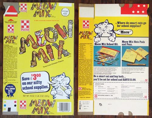 Vintage 1983 Ralston Purina Meow Mix Cat Food Box