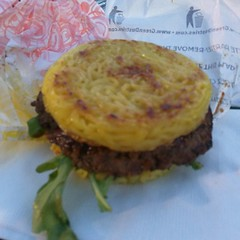 The world famous ramen burger. It's a burger with a ramen bun. Cost $10. Not sure if it's worth it.